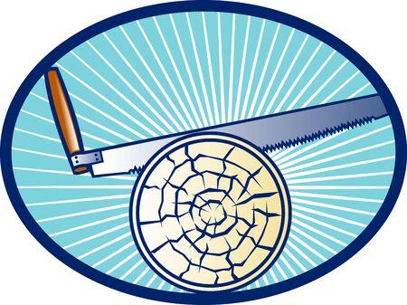Retro illustration of a cross-cut hand saw cutting log of wood set inside oval ellipse with sunburst. Stock Vector - 14992547