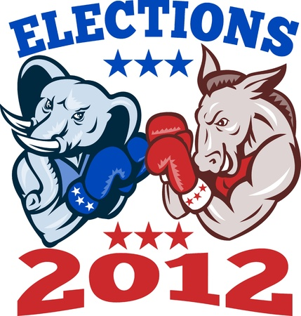 Illustration of a democrat donkey mascot of the democratic grand old party gop and republican elephant boxer boxing with gloves set inside circle done in retro style with words elections 2012 Vector