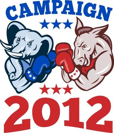 民主的なグランド旧党共和党と共和党象ボクサー ボクシングの手袋円内言葉キャンペーン 2012年でレトロなスタイルで行われる設定での民主党ろば  イラスト・ベクター素材