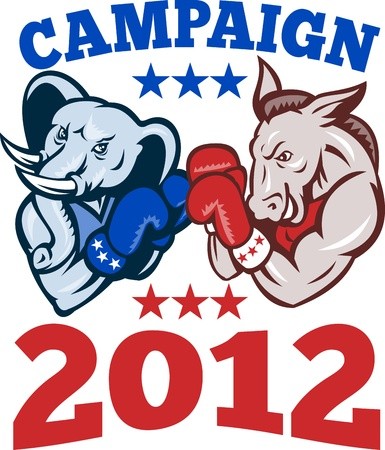 Illustration of a democrat donkey mascot of the democratic grand old party gop and republican elephant boxer boxing with gloves set inside circle done in retro style with words campaign 2012