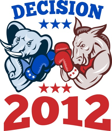 Illustration of a democrat donkey mascot of the democratic grand old party gop and republican elephant boxer boxing with gloves set inside circle done in retro style with words decision 2012 Illustration