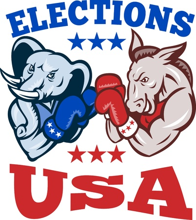 Illustration of a democrat donkey mascot of the democratic grand old party gop and republican elephant boxer boxing with gloves set inside circle done in retro style with words elections usa Vector