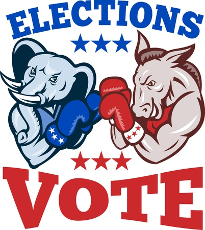 Illustration of a democrat donkey mascot of the democratic grand old party gop and republican elephant boxer boxing with gloves set inside circle done in retro style with words elections vote