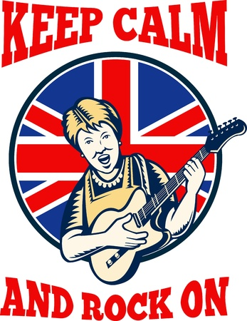 Retro illustration of a british granny queen playing guitar with union jack flag set inside circle with words &quot,keep calm and rock on&quot,. Vector