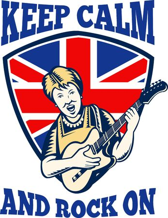 quot: Retro illustration of a british granny queen playing guitar with union jack flag set inside shield with words &quot,keep calm and rock on&quot,.