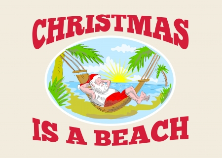 Sketch style illustration of santa claus saint nicholas father christmas relaxing on hammock at a tropical beach. Vector