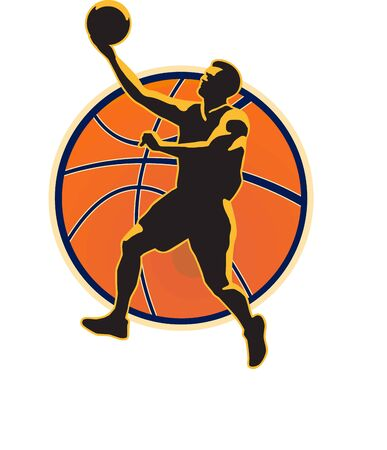 baller: Illustration of a basketball player lay up dunking ball on isolated white background