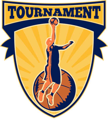dunking: Illustration of a basketball player lay-up dunking ball with shield scroll and words tournament