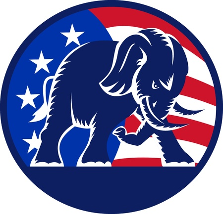 Illustration of a republican elephant mascot with American USA stars and stripes flag circle done in retro style  Stock Illustration - 14992604