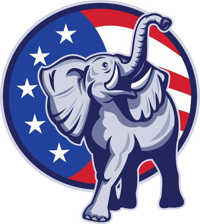 republican: Illustration of a republican elephant mascot with American USA stars and stripes flag circle done in retro style  Stock Photo