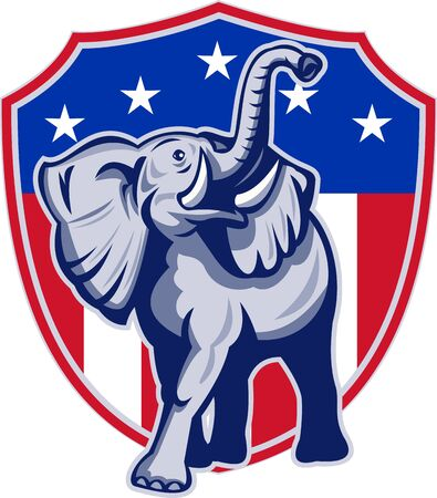 Illustration of a republican elephant mascot with American USA stars and stripes flag shield done in retro style