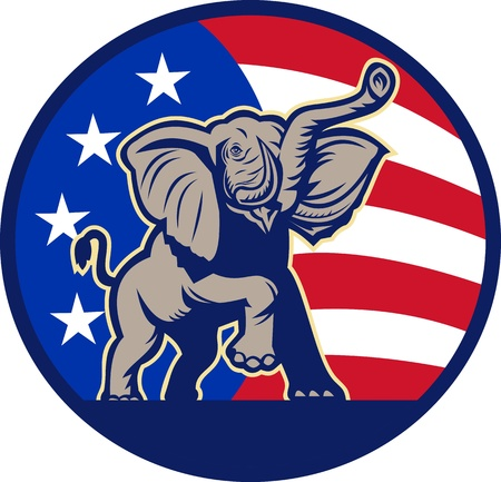 Illustration of a republican elephant mascot with American USA stars and stripes flag done in retro style