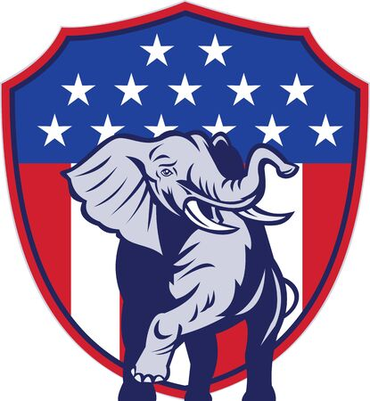 Illustration of a republican elephant mascot with American USA stars and stripes flag shield done in retro style  Stock Illustration - 14992638