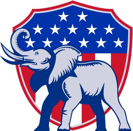 Illustration of a republican elephant mascot with American USA stars and stripes flag shield done in retro style Stock Illustration - 14992686