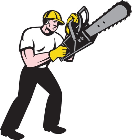 chain saw: Illustration of lumberjack arborist tree surgeon holding a chainsaw starting motor on isolated white background.