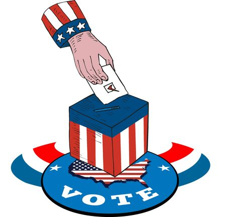 Illustration of of a hand putting ballot votign in box with american stars and stripes flag and map and word vote. Vector