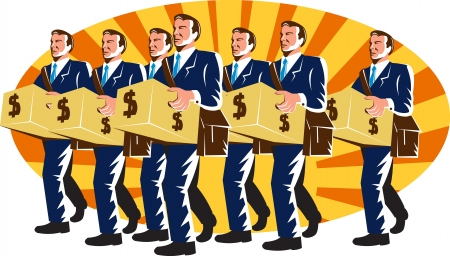 Illustration of a group of businessman banker employee worker walking carrying carton box with money dollar sign set inside ellipse with sunburst done in retro style. Stock Vector - 15220759