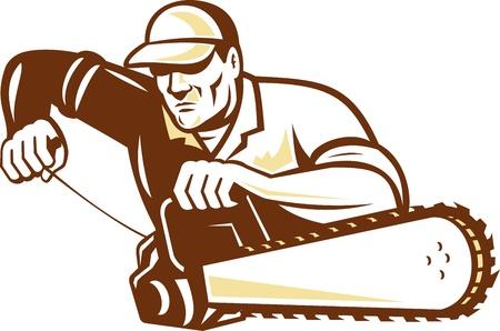 paysagiste: Illustration de bûcheron élagueur arboriste tenant un moteur d'une tronçonneuse de départ sur fond blanc isolé.