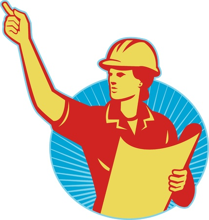 Illustration of a female construction engineer worker with blue print plan pointing finger set inside circle done in retro style. Vector