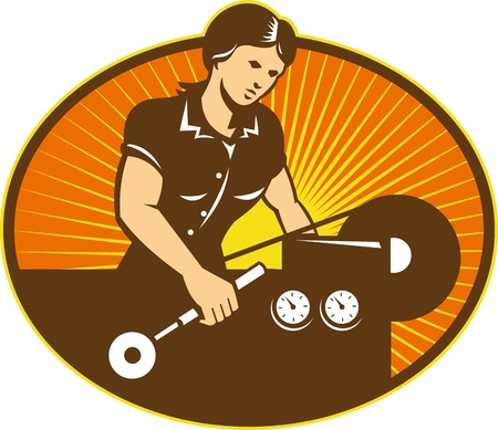 factory machine: Illustration of a female machinist factory worker working on lathe machine set inside ellipse done in retro style.