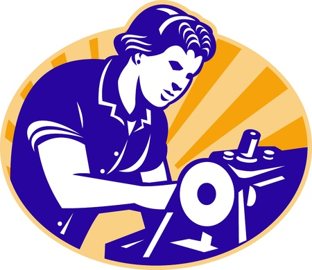 machinist: Illustration of a female machinist seamstress worker sewing on machine set inside circle done in retro style. Illustration