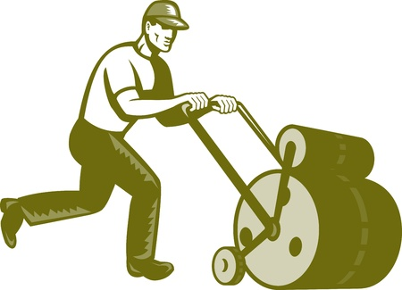 Illustration of retro style male gardener walking pushing lawn roller viewed from side on blue screen background. Illustration