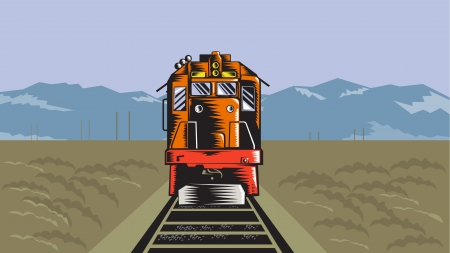 freight train: Illustration of a diesel train viewed from a high angle done in retro style with field and mountains in the background.