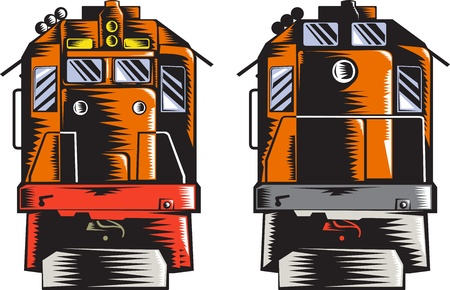 diesel train: Illustration of a diesel train viewed from front and rear done in retro woodcut style on isolated white background.