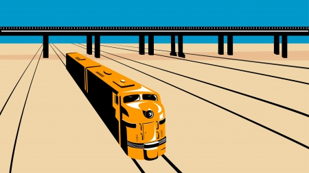 Illustration of a diesel train viewed from a high angle done in retro style with train tracks and viaduct bridge. Vector
