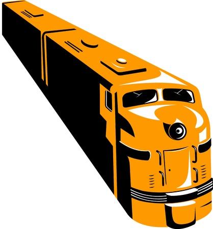 petit train: Illustration d'un train diesel sous un angle �lev� fait dans le style r�tro sur fond blanc isol�.