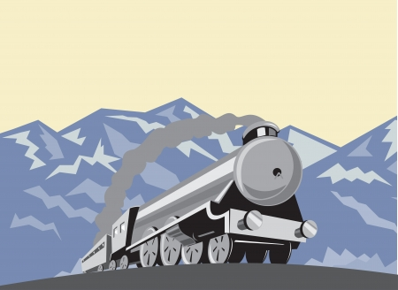 Illustration of a steam train locomotive viewed from a low angle done in retro style with mountains in the background. Vector