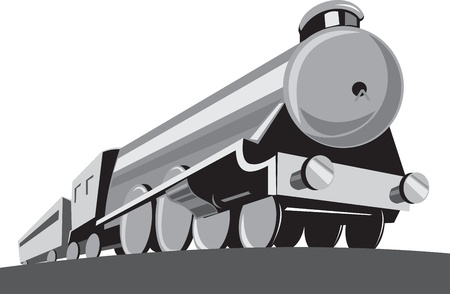 Illustration of a steam train locomotive viewed from a low angle done in retro style on isolated white background. Vector