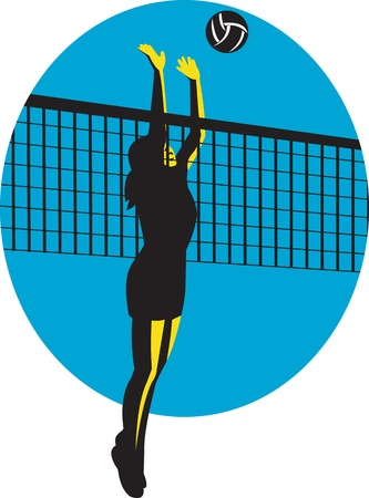 Illustration of a female volleyball player jumping spiking ball done in retro style. Vector