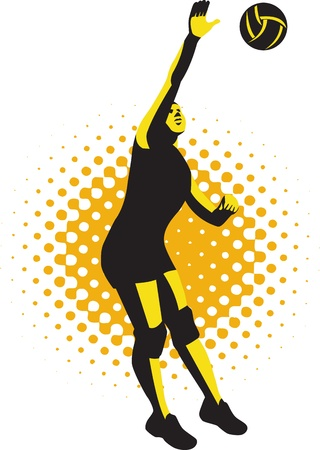 Illustration of a female volleyball player jumping spiking ball done in retro style.
