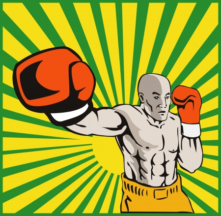 jab: Illustration of a boxer jabbing punching front view done in retro style