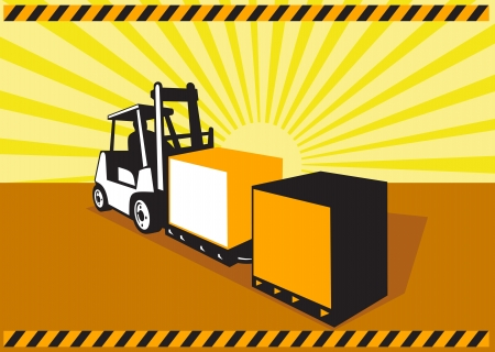 forklift truck: Illustration of a forklift truck and driver at work lifting handling box crate done in retro style with sunburst in background.