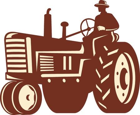 Illustratie van een boer werknemer het besturen van een ouderwetse tractor op geïsoleerde achtergrond gedaan in retro stijl. Vector Illustratie