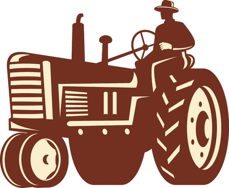Illustration of a farmer worker driving a vintage tractor on isolated background done in retro style.