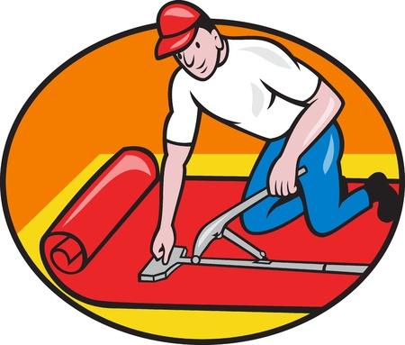 フィッターのカーペットのフィッター ワーカー漫画のスタイルの設定楕円の内部分離ホワイト バック グラウンドで行われる敷設カーペット層のイ