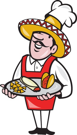Illustration of a cartoon Mexican chef cook wearing chef hat and sombrero serving plate full of tacos burrito and corn chips on isolated background. illustration
