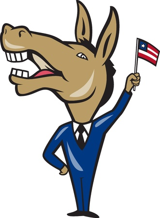 democratic: Illustration of a democrat donkey mascot of the democratic party waving  american stars and stripes flag done in cartoon style.