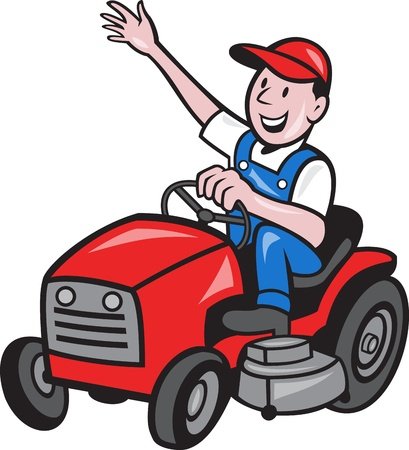 wave hello: illustration of a farmer gardener riding ride on mower tractor waving hello on isolated background done in cartoon style Stock Photo