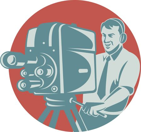 filming: illustration of a cameraman movie director filming vintage tv camera set inside circle shape done in retro style. Stock Photo