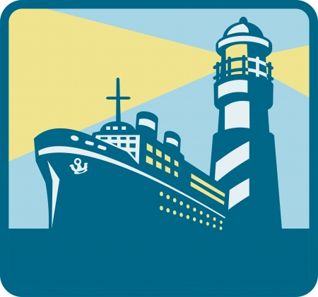 freighter: illustration of a passenger cargo ship at sea with lighthouse in background done in retro style