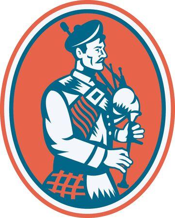gaita: Ilustración de un escocés escocés tocando la gaita se ve desde el lado interior conjunto ovalado hecho en estilo retro.