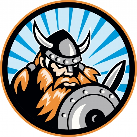 raider: Illustration of a viking warrior raider barbarian with sword and shield set inside circle done in retro style.
