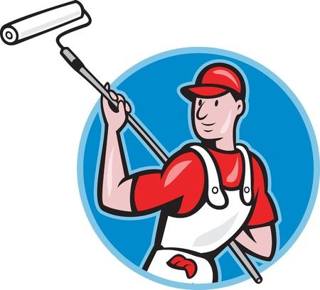 pintor de casas: ilustraci�n de un pintor de casas con pintura rodillo de pintura aislado en blanco hecho en estilo de dibujos animados. Foto de archivo