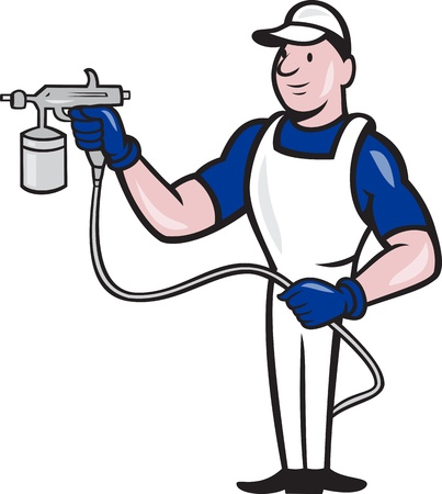 Illustration of spray painter with spray paint gun done in cartoon style on isolated white background. illustration