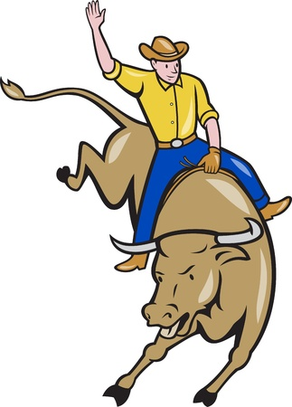 Illustration of rodeo cowboy riding bucking bull on isolated white background done in cartoon style. illustration