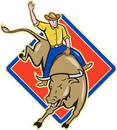 Illustration of rodeo cowboy riding bucking bull on isolated white background with diamond shape. Stock Photo